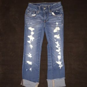 Denim - American Eagle jeans Artist Crop size 0